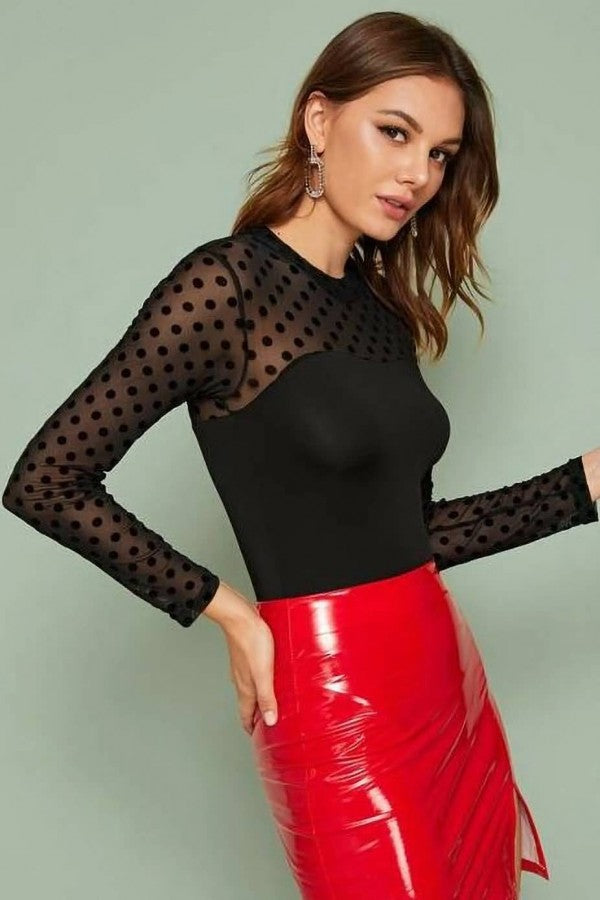 Black Polka Dot Mesh Crew Neck Long Sleeve Casual Bodysuit