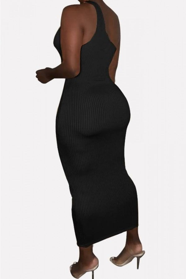 Black Ribbed Cutout One Shoulder Sexy Bodycon Dress