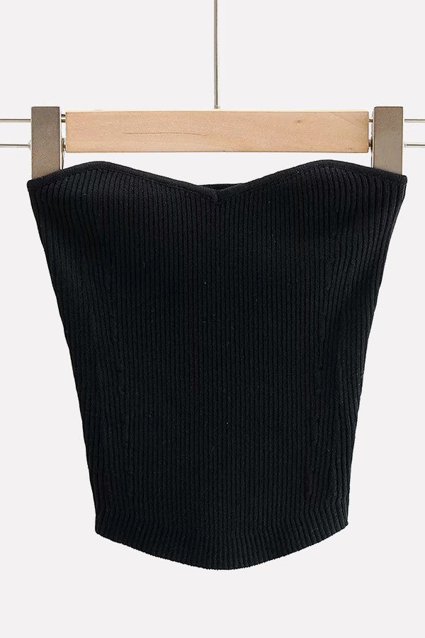 Black Ribbed Knit Sexy Bandeau