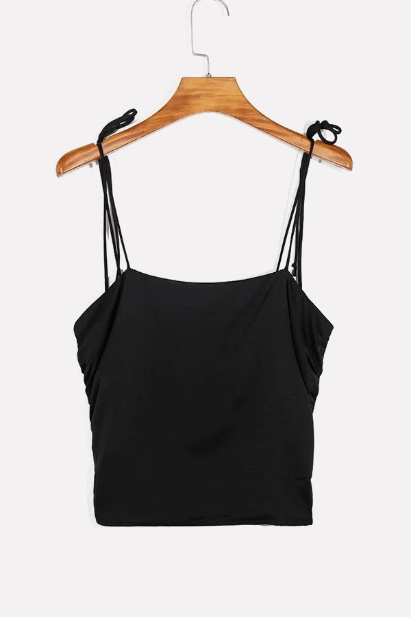 Black Ruched Side Spaghetti Straps Shirred Back Casual Camis