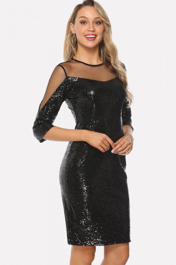 Black Sequin Mesh Splicing Sexy Bodycon Dress