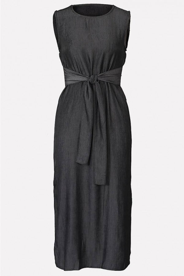 Black Slit Sleeveless Casual Midi Denim Dress