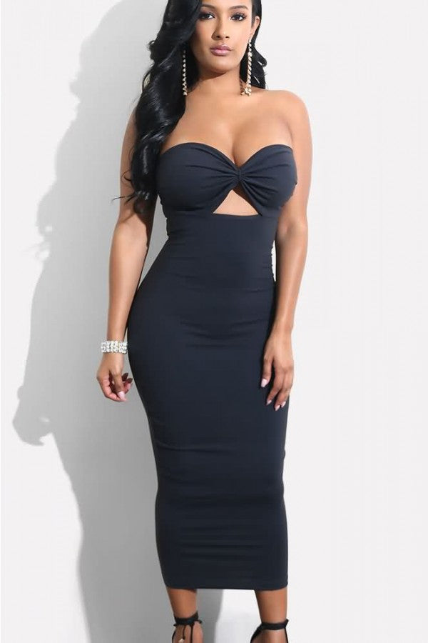 Black Strapless Cutout Sexy Bodycon Dress