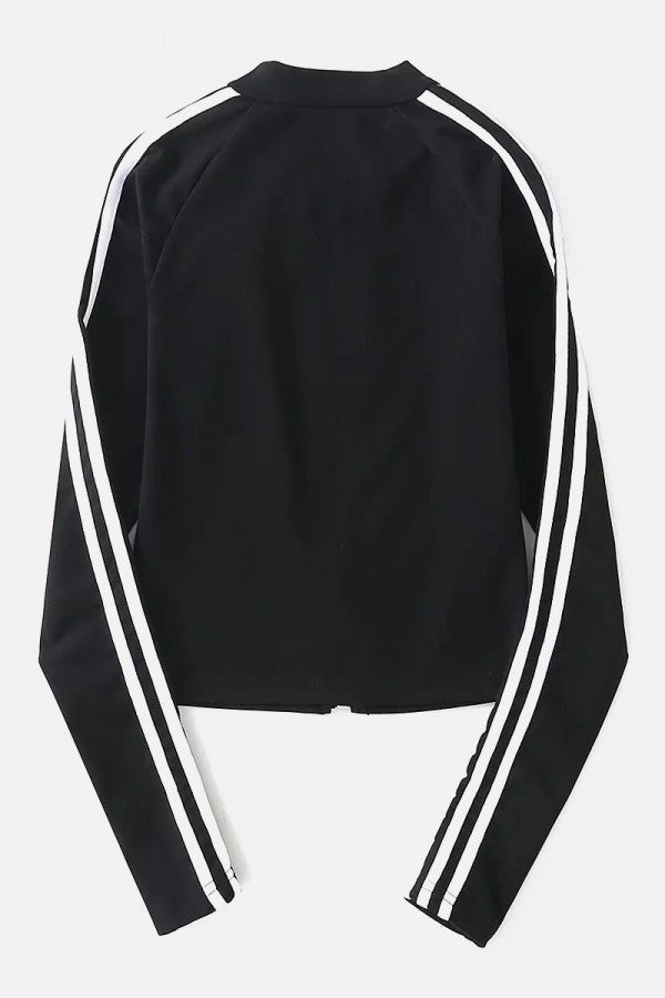 Black Stripe Side Zipper Up Long Sleeve Casual Sweatshirt