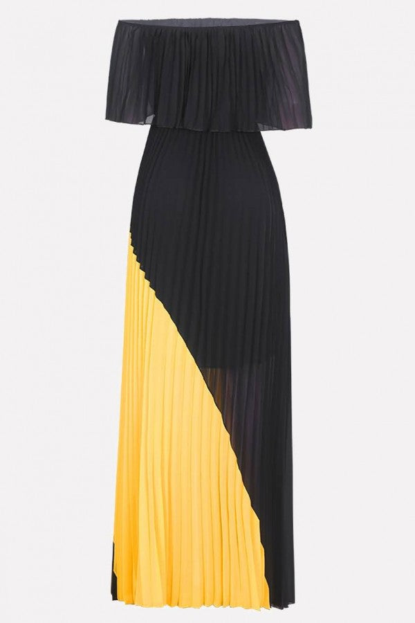 Black Two Tone Pleated Off Shoulder Casual Maxi Dress