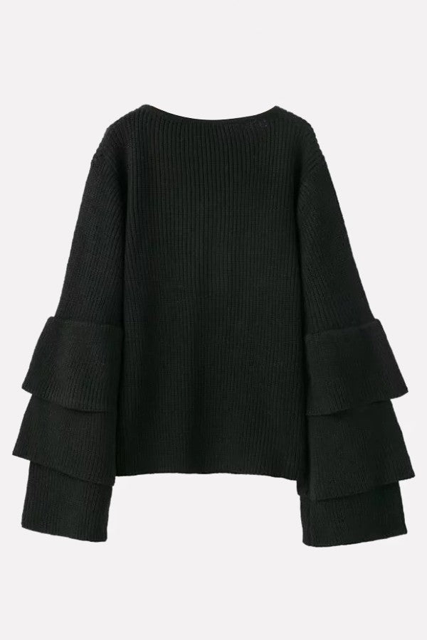 Black V Neck Layered Sleeve Chic Pullover Sweater