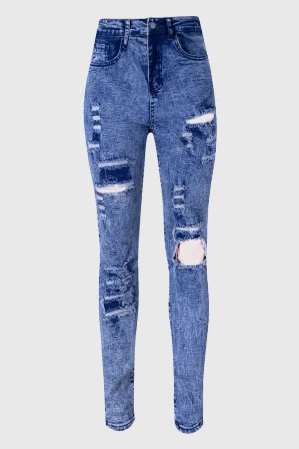 Acid Wash Button Up Shredd Zipper High Waist Casual Jeans-4-cutespree
