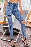 Acid Wash Button Up Shredd Zipper High Waist Casual Jeans-1-cutespree