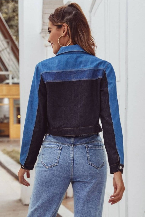 Blue Color Block Single Breasted Long Sleeve Casual Denim Jacket