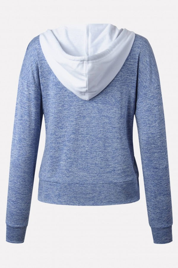 Blue Color Block Zipper Up Pocket Long Sleeve Casual Hoodie