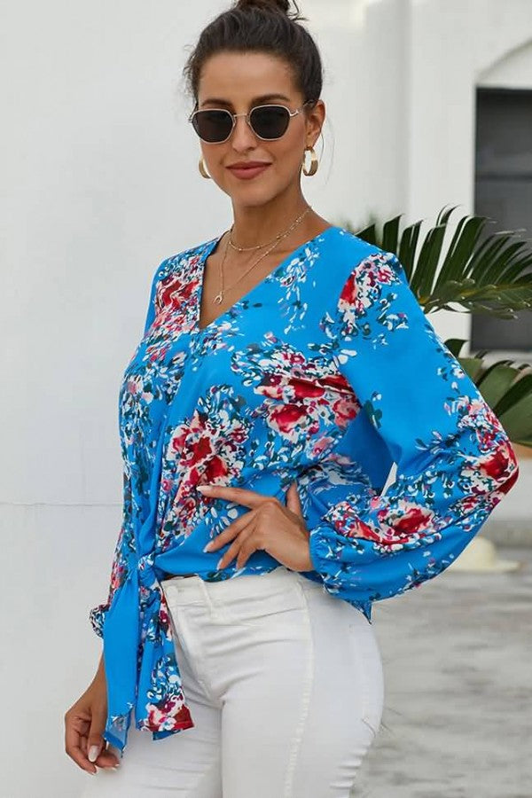 Blue Floral Print Tied V Neck Long Sleeve Casual Blouse