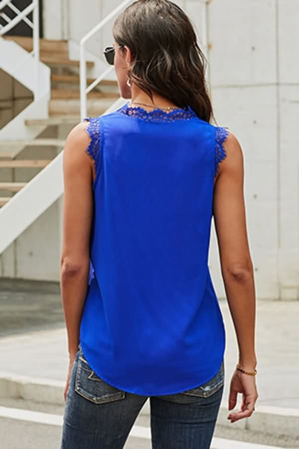 Blue Lace Splicing V Neck Casual Tank Tops