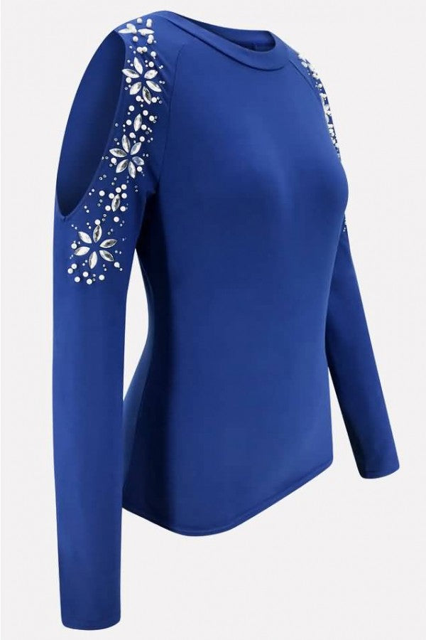 Blue Rhinestone Cold Shoulder Long Sleeve Casual T Shirt