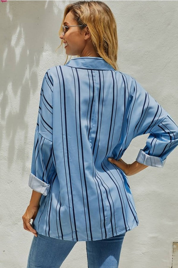 Blue Stripe Button Up Long Sleeve Casual Blouse