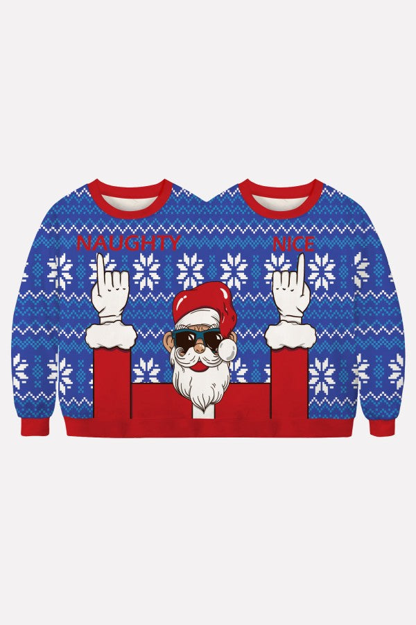 Blue Two Person Santa Claus Print Long Sleeve Christmas Sweatshirt