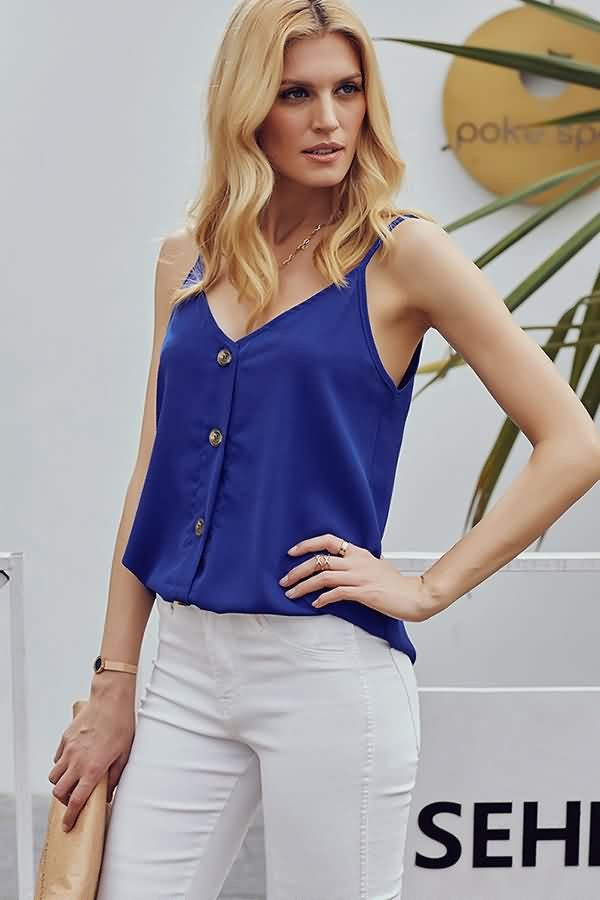 Blue V Neck Single Breasted Casual Camisole