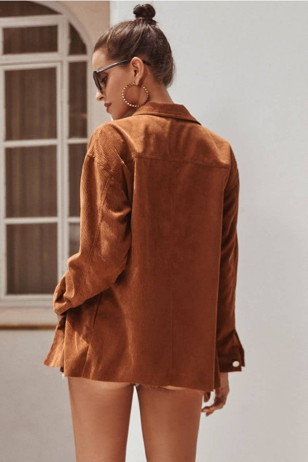 Brown Corduroy Button Up Long Sleeve Casual Coat