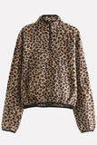 Brown Leopard Half Zipper Long Sleeve Casual Sweatshirt