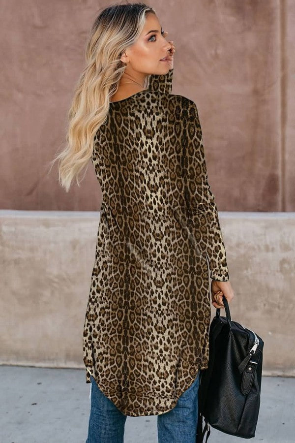 Brown Leopard Long Sleeve Casual Cardigan