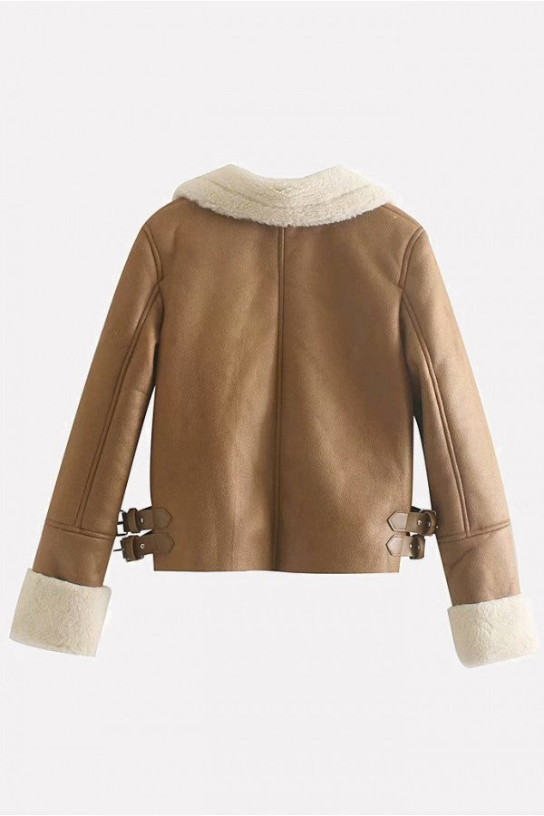 Brown Pu Zipper Up Long Sleeve Casual Thicken Jacket