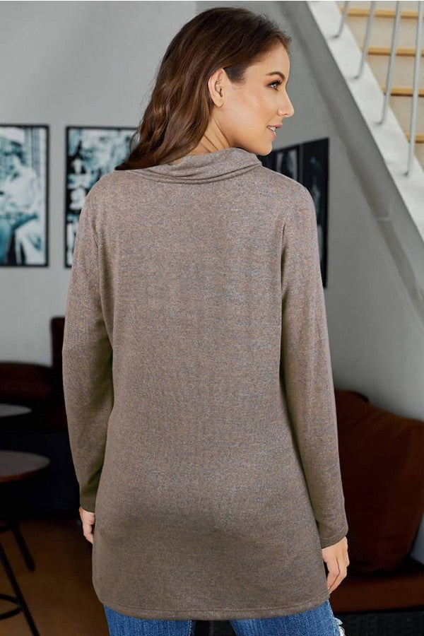 Camel Zipper Up Cowl Neck Long Sleeve Casual Sweatshirt