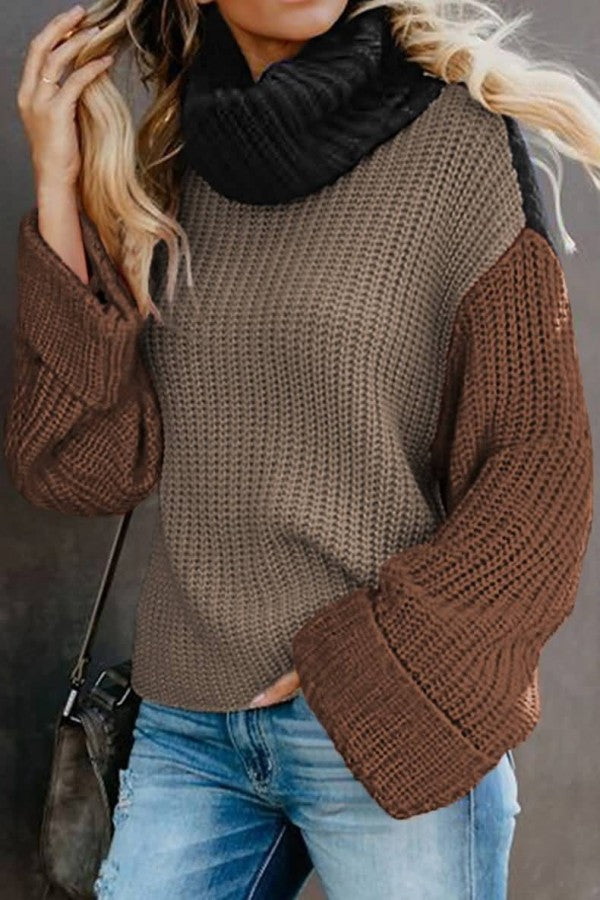 Coffee Color Block Turtle Neck Long Sleeve Casual Sweater