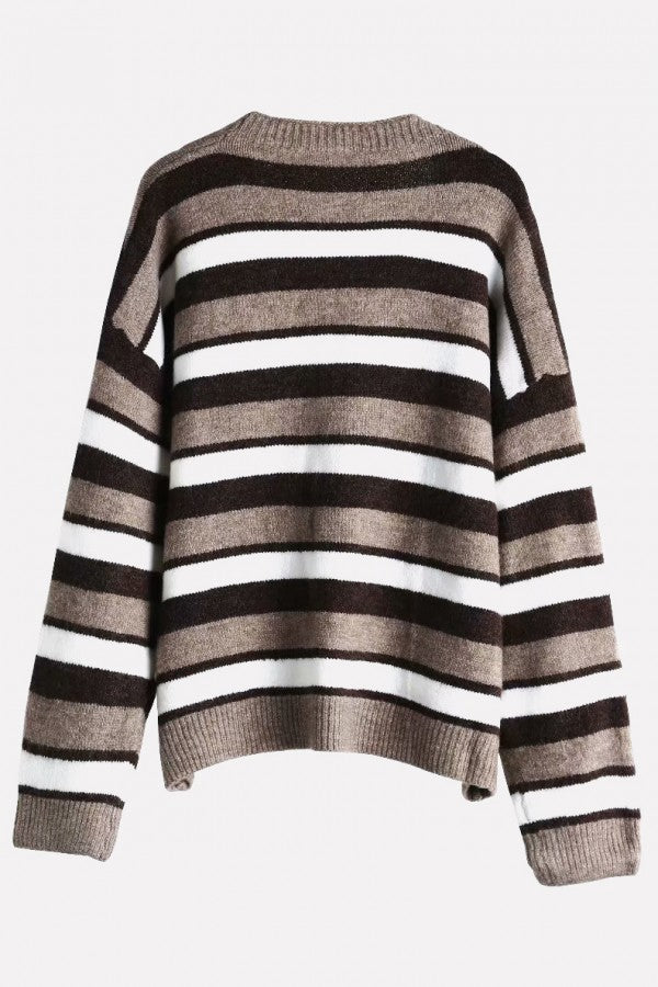Coffee Stripe Button Up V Neck Long Sleeve Casual Cardigan Sweater