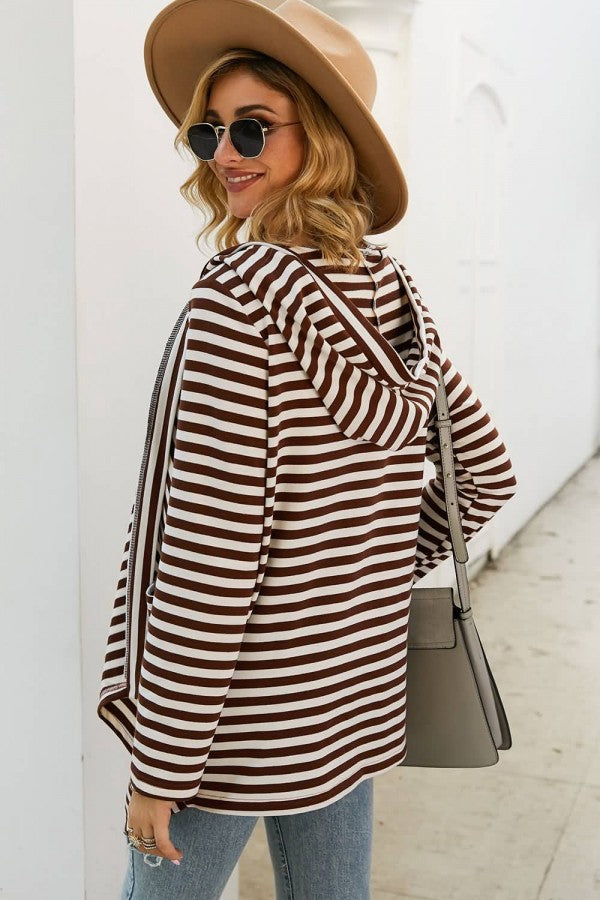 Coffee Stripe Pocket Hoodie Long Sleeve Casual Cardigan Coat