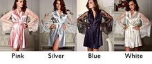 Load image into Gallery viewer, Sexy Lace Silk Night Gown Perspective Mesh Long Sleeves Sleepwear Pajamas