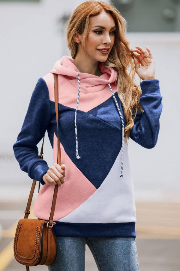 Dark-blue Color Block Long Sleeve Casual Hoodie