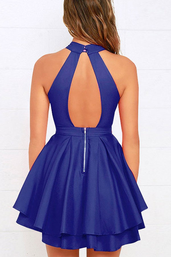Dark Blue Halter Cutout Back Layered Pleated Sexy Skater Dress