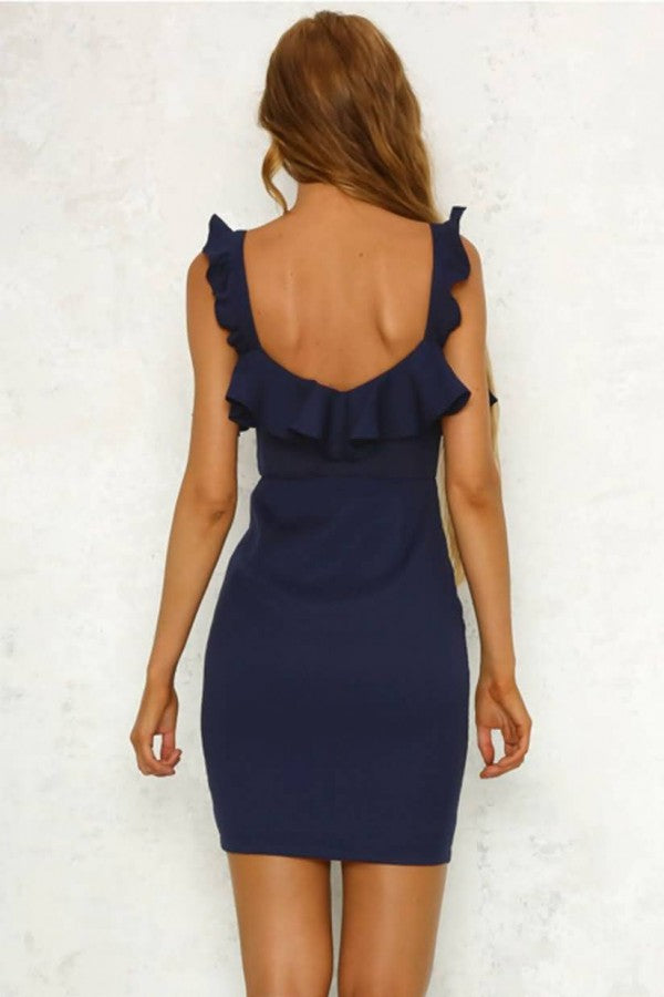 Dark-blue Ruffles Zipper Front Sexy Bodycon Dress