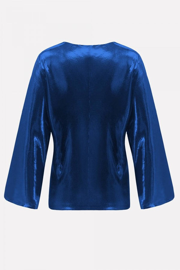 Dark-blue Sequins Long Sleeve Casual Cardigan Coat