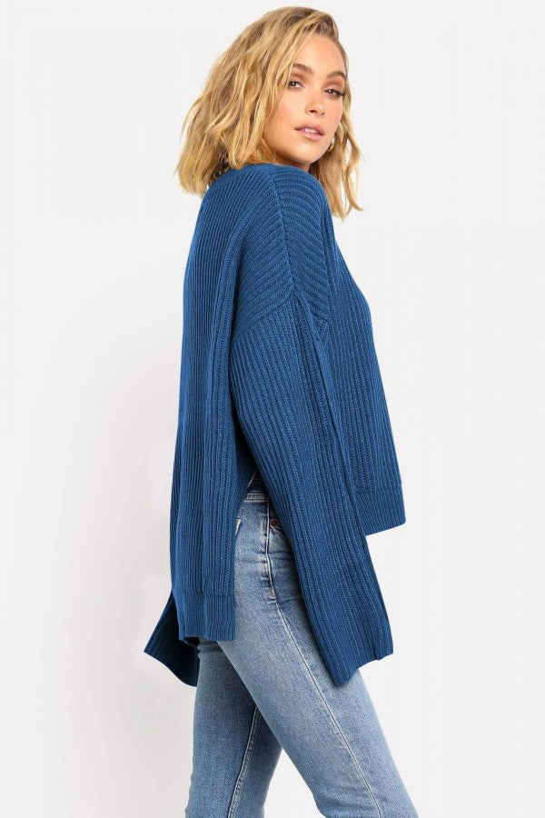Dark-blue Slit Button Decor Long Sleeve Casual Sweater