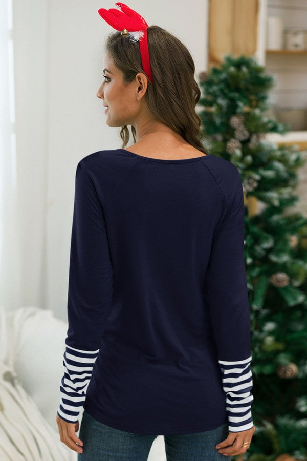 Dark-blue Slogan Print Round Neck Long Sleeve Casual T Shirt