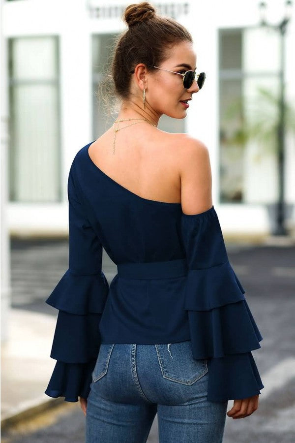 Dark-blue Tied One Shoulder Flare Sleeve Casual Blouse