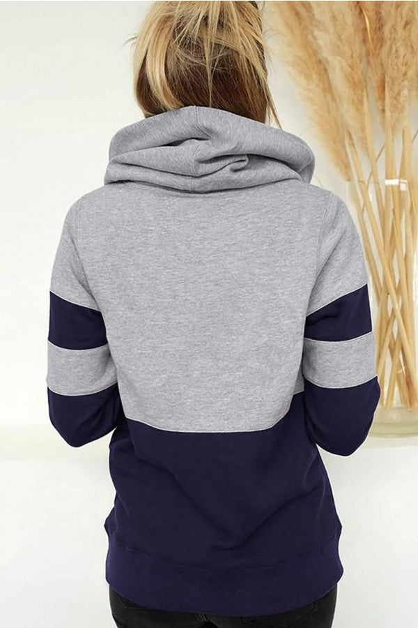 Dark-blue Two Tone Pocket Long Sleeve Casual Hoodie