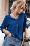 Dark-blue V Neck Half Sleeve Button Up Twisted Casual T Shirt