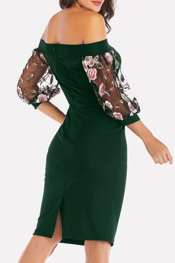 Dark-green Embroidery Mesh Splicing Off Shoulder Sexy Bodycon Dress