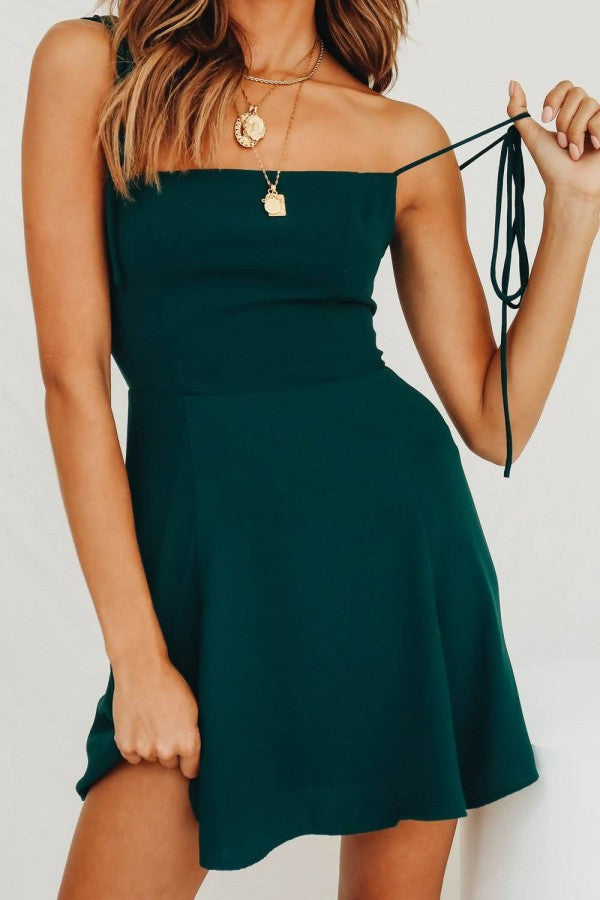 Dark-green Spaghetti Straps Sleeveless Tied Casual Dress
