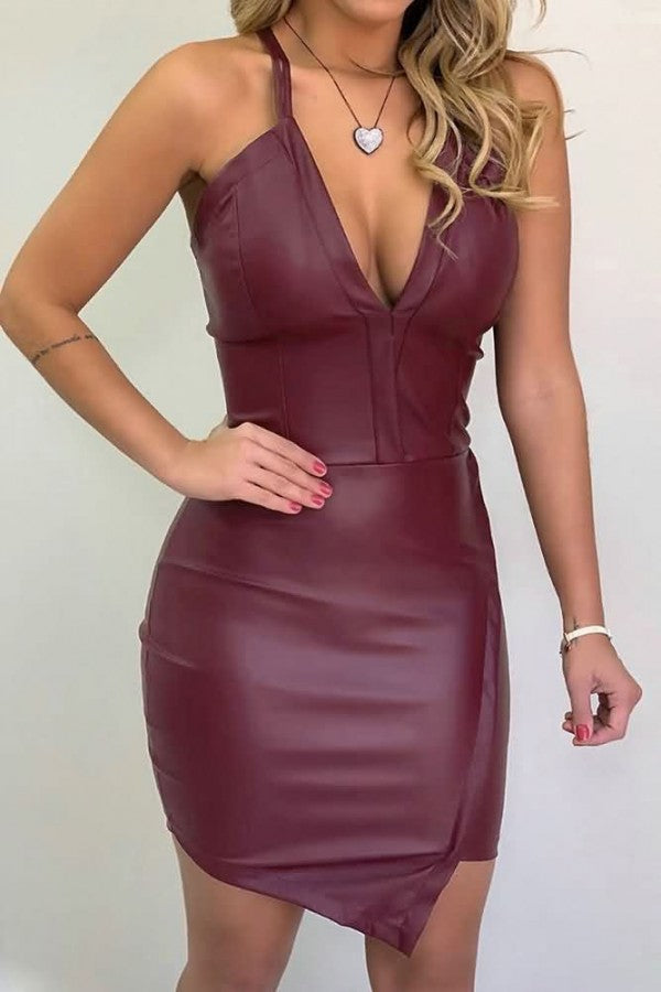 Dark-red Faux Leather Spaghetti Straps Plunging Sexy Bodycon Dress