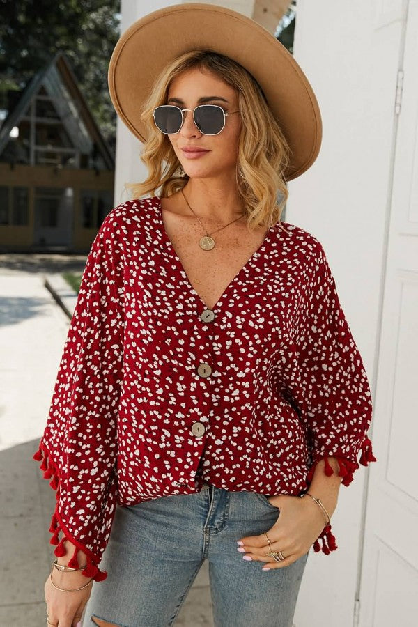 Dark-red Floral Print Button Up Tassels Casual Blouse