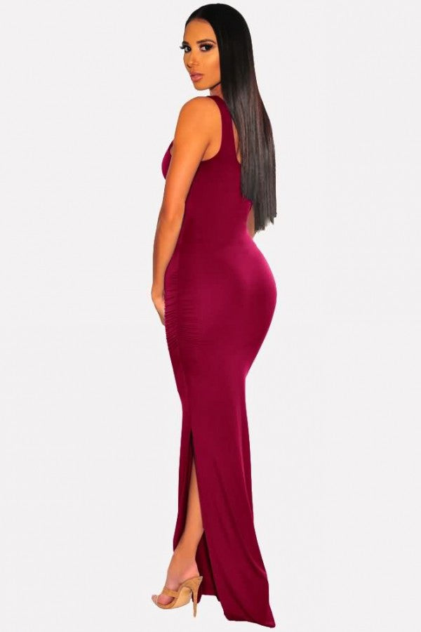 Dark-red Ruched Slit Sleeveless Sexy Bodycon Maxi Dress