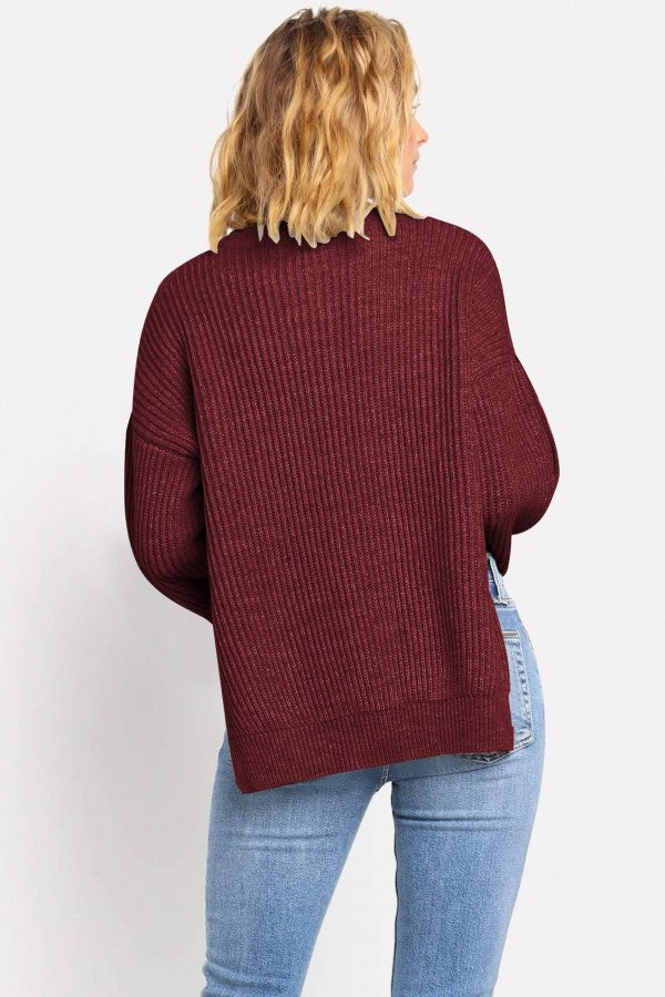 Dark-red Slit Button Decor Long Sleeve Casual Sweater