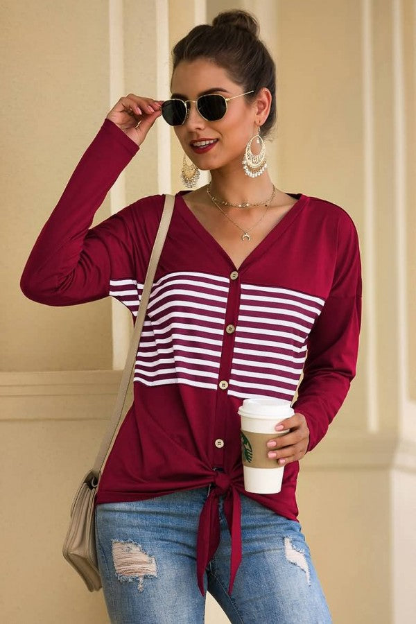 Dark-red Stripe Button Up Knotted Long Sleeve Casual T Shirt