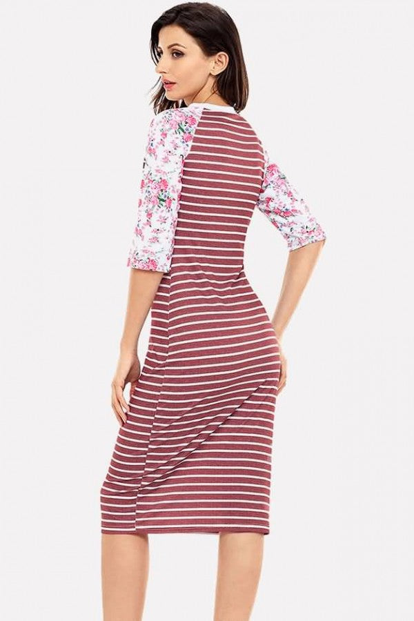 Dark-red Stripe Floral Print Half Sleeve Casual T-shirt Dress
