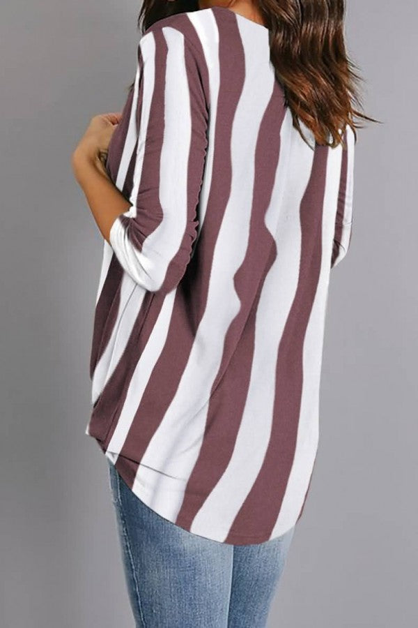Dark-red Stripe Wrap Long Sleeve Casual Blouse