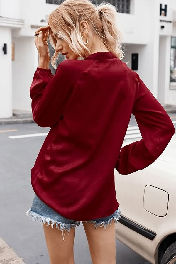 Dark-red V Neck Bow Front Casual Blouse