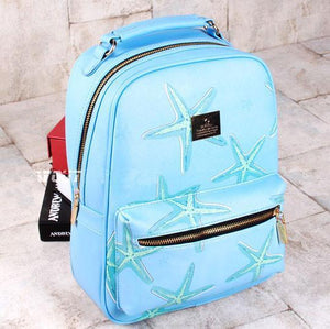 Starfish Printing Leisure Leather Backpacks For Big Sale!- xikeoo.com