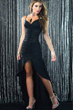 Black Strappy Ruched Asymmetrical Hem Sexy Dress